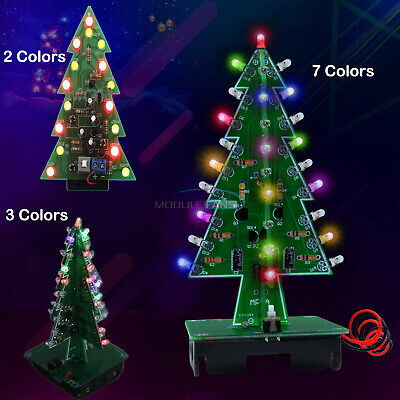 Diy 3d Led Flashing Christmas Tree Circuit Kit Glitter 237 Colors Tree Gift