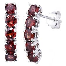 Sterling Silver 5 Stone Garnet Earrings (1.75 CT)
