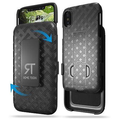RomeTech Black Hard Shell Case Cover Phone Holster with Kickstand & Belt Clip Black Shell Case Belt Clip