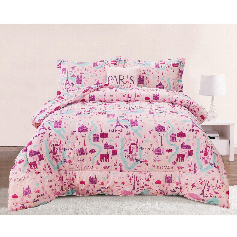 Twin or Full/Queen Travel Paris Rome New York Comforter Bedding Set, Pink Purple Bedding