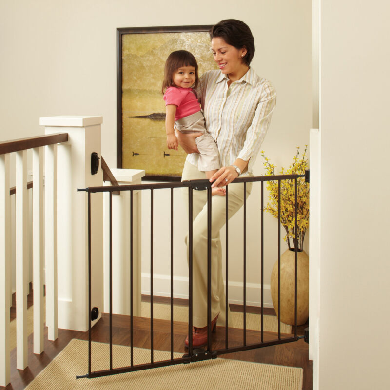 Baby Safety Gate Door Walk Through Pet Indoor Dog Fence Lock Extra Wide Tall New