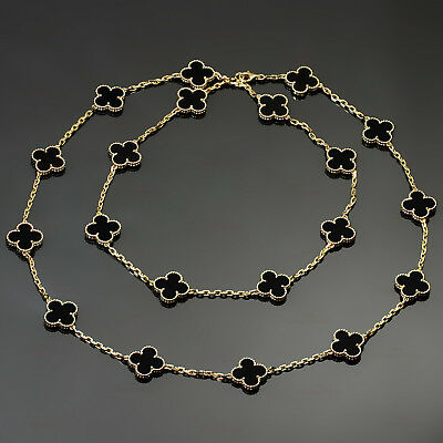 VAN CLEEF & ARPELS Vintage Alhambra Onyx 18k Yellow Gold 20 Motif Necklace