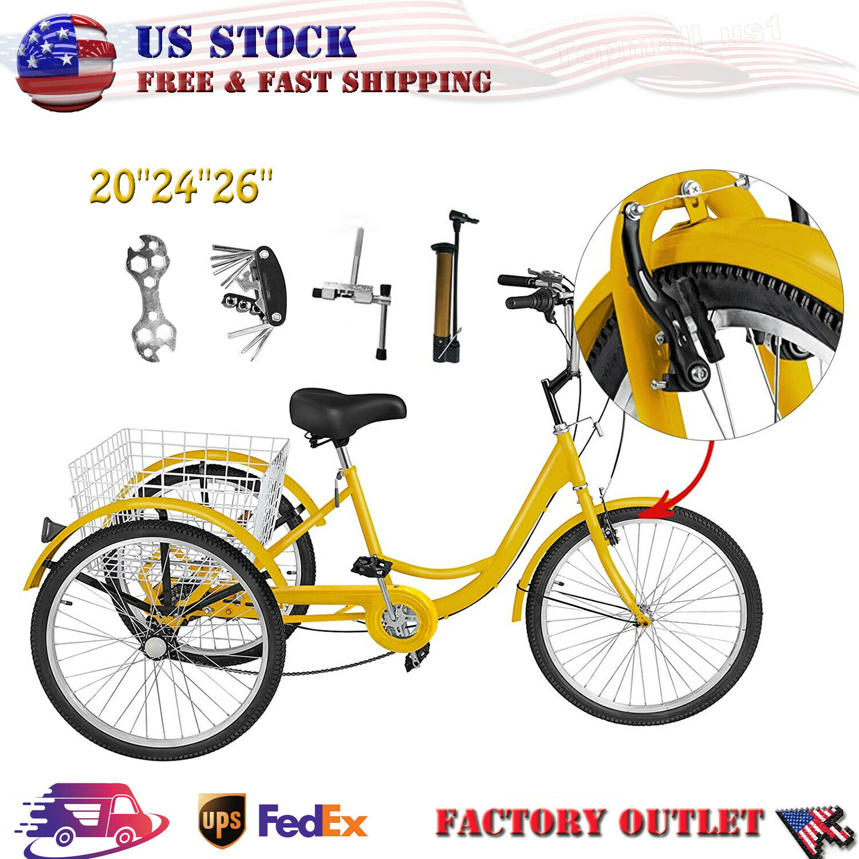 "26""/24""/20"" 7 Speed Adult Trike Tricycle 3-Wheel Bike w/Bask"