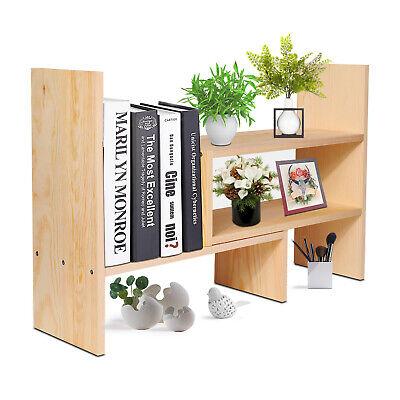Wooden Desktop Shelf Wood Caddy Organizer Tabletop Storage Bookcase Stand Rack