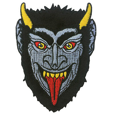Krampus Face Embroidered Iron On Patch - Goth Horns Devil Kreepsville 038-C (Krampus Horns)