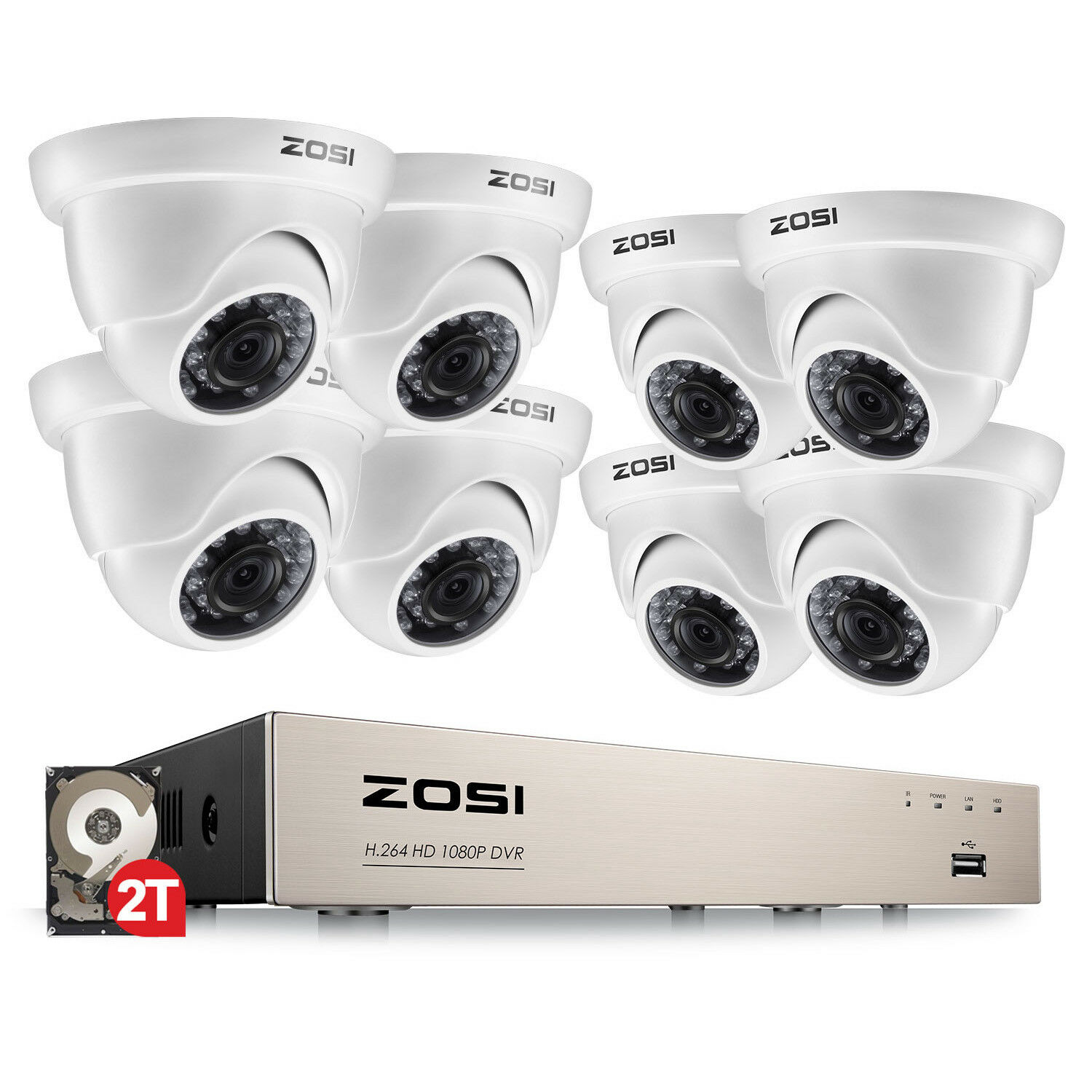 ZOSI 1080p 8CH HDMI DVR 2TB HDD 2MP IR Outdoor CCTV Home Security Camera System
