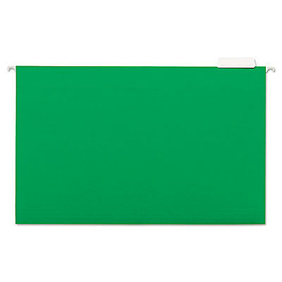 UNIVERSAL Hanging File Folders 1/5 Tab 11 Point Stock Legal Green 25/Box 14217