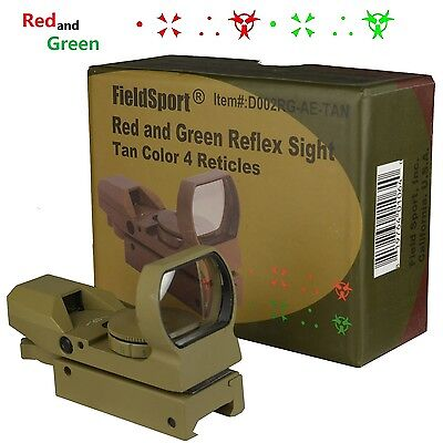 Field Sport Tactical Reflex Red Green Dot Sight 4 Reticle Apocalypse Edition Tan