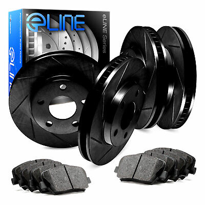 For 2014-2015 Acura RLX Front Rear eLine Black Slotted Brake Rotors+Ceramic Pads