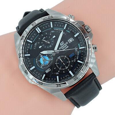 Casio Edifice Herren Uhr Chronograph EFR-556L-1AVUEF Schwarz Leder Armband