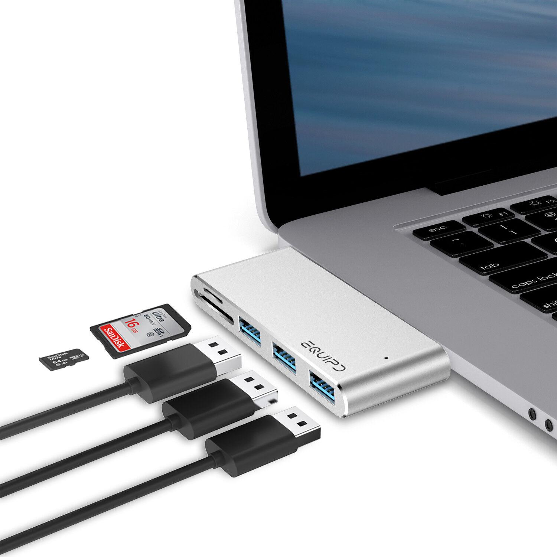 Aluminum USB Type-C 5in1 Hub Adapter 5 USB 3.0 SD/Micro Card