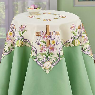 Table Cloth Embroidered Easter Cross Table Topper Religious Floral Tablecloth