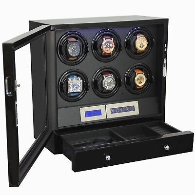 6 + 2 Watch Winder Black with Storage Drawer LED Touch Pad Controls w/ Remote