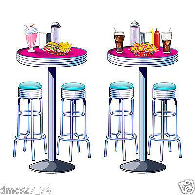 1950s Sock Hop Grease Party Decoration SODA SHOP Diner TABLES & STOOLS PROPS (1950s Table Decorations)