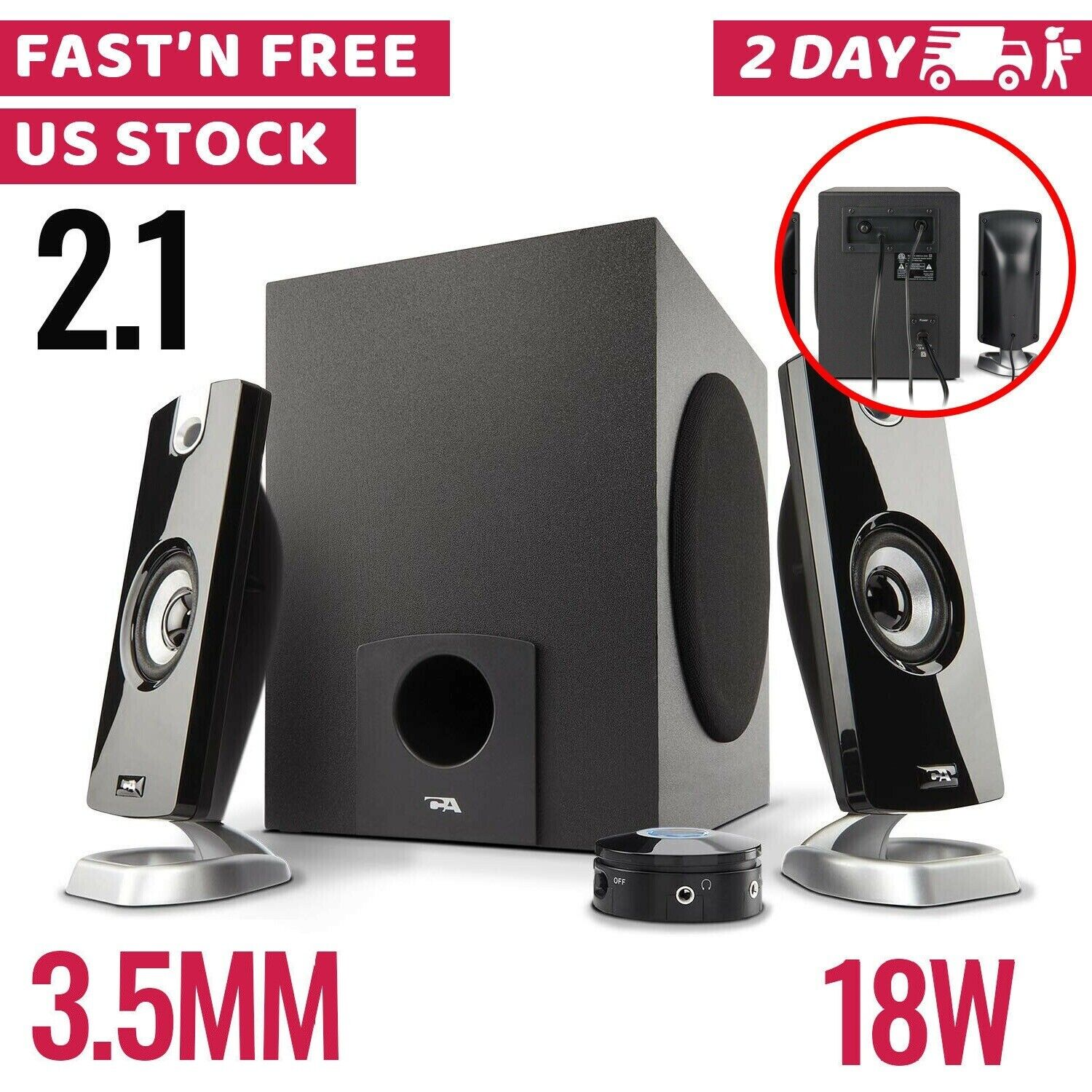 Computer Speakers Gaming USB Powered 2.1 PC Desktop With Sub