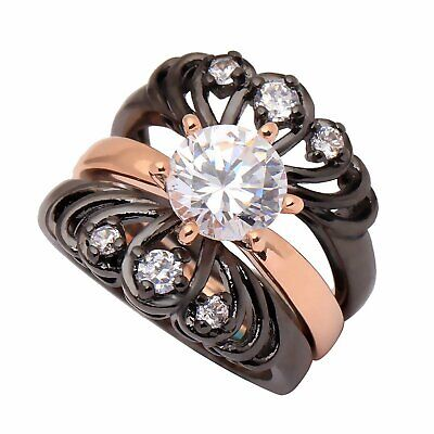 Black And Gold Wedding (Cordellia Black and Rose Gold Plated Bridal Engagement and Wedding Band Ring)