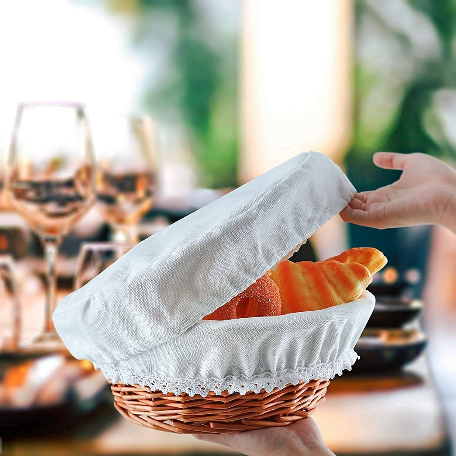 Wicker Bread Baskets> 2Pack-with Liner/Cover and Warming Sto