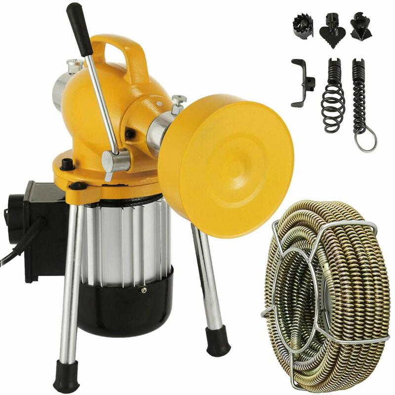 """Sectional Pipe Drain Auger Cleaner Machine Snake Sewer 3/4"""" - 4"""" Clog w/6Cutters"""