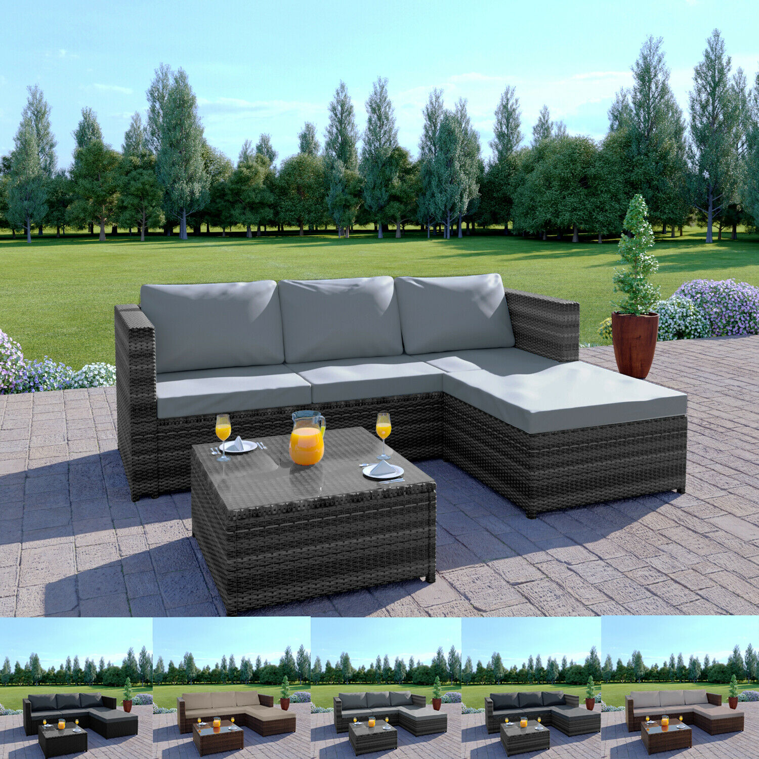 Garden Furniture - Rattan Garden Corner Sofa Table Chair Furniture Set Grey Brown Black Patio