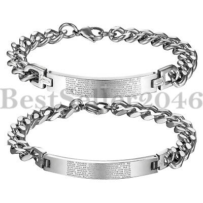 Religious Cross Bangle Stainless Steel Men Women Bible Lord's Prayer Bracelet