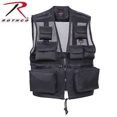 ROTHCO 6484 BLACK RECON MENS MESH VESTS 100%NYLON FISHING HUNTING ADULT S TO -