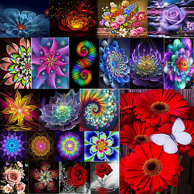 5D Flower Diamond Painting Cross Crafts Stitch Kit Home Art Decor DIY Kid Gifts
