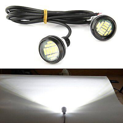 2 x 15W 12 LED Eagle Eye Light Car Fog DRL Daytime Reverse Backup Parking Signal