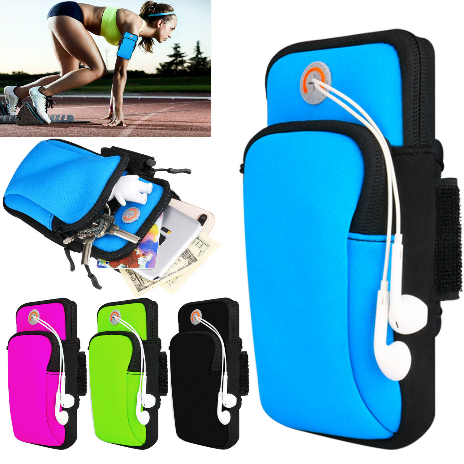 27713ce76659 Details about Sport Armband Running Jogging Gym Arm Band Pouch Holder Bag  Case For Cell Phone