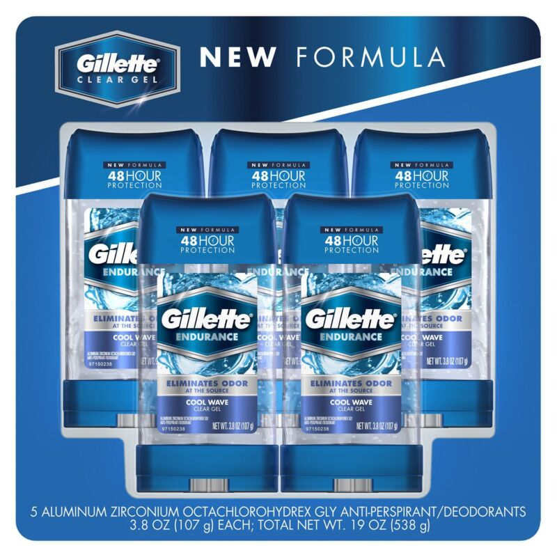 5 x 3.8 oz Gillette mens COOL WAVE clear gel Antiperspirant Deodorant