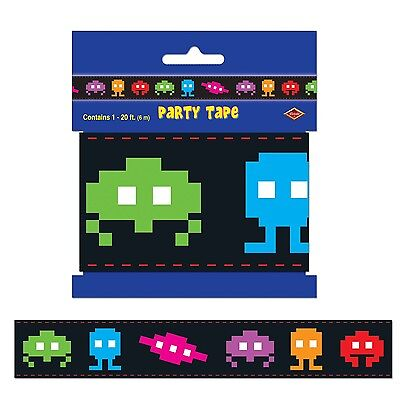 TOTALLY 80S ICONS ARCADE SPACE INVADERS STYLE TAPE DECORATION BIRTHDAY - 80s Decorating Style