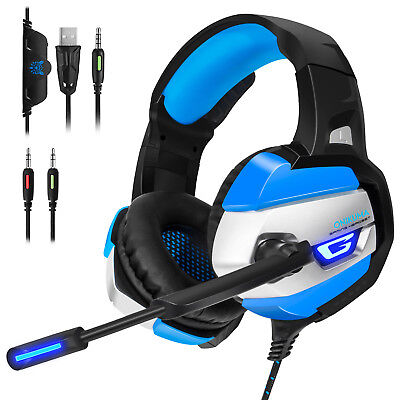 K5 Gaming Headset 3.5mm Stereo Surround LED Headphones with Mic for PS4 Xbox One