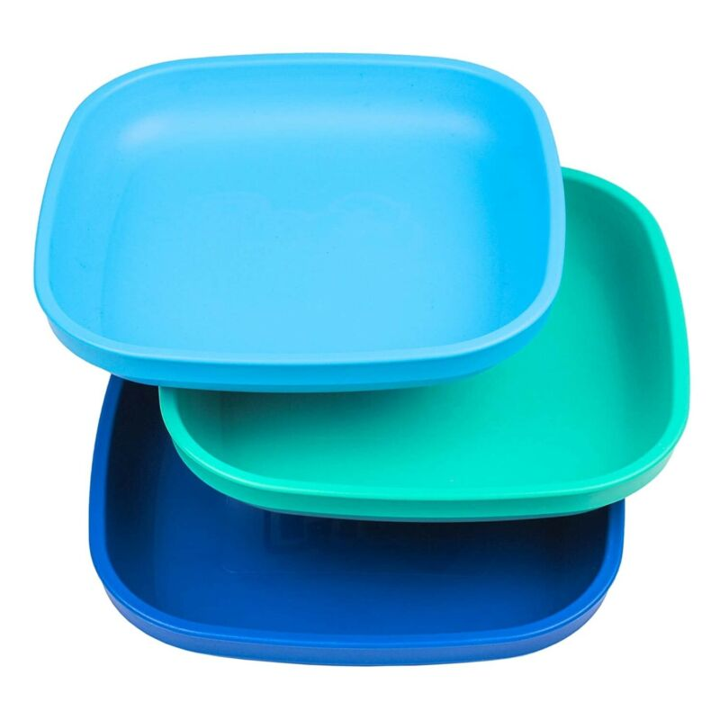 """3pk - 7.37"""" Plates with Deep Sides for Easy Baby, Toddler, Child Feeding"""