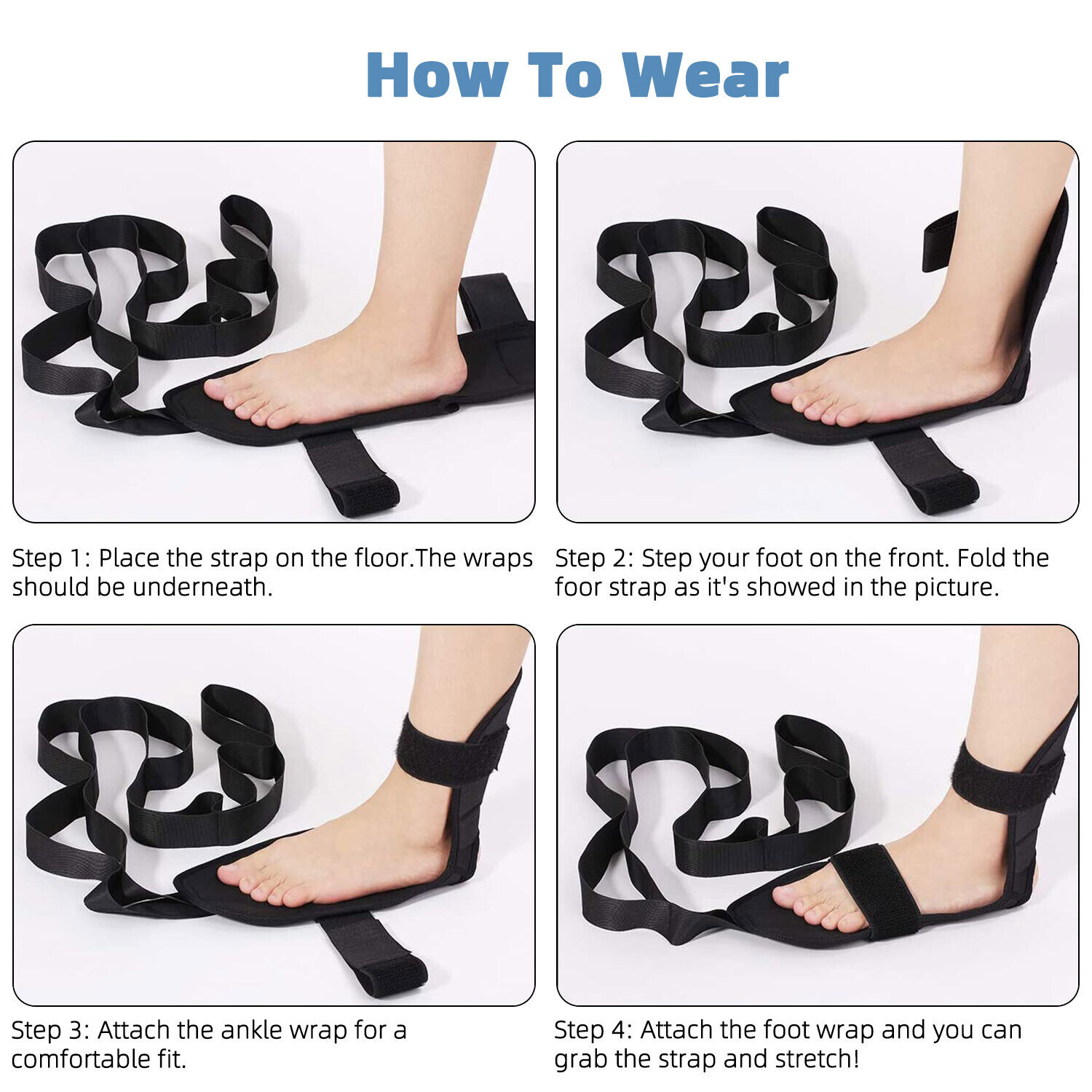 Yoga Ligament Stretching Belt Foot Drop Strap Leg Training Foot Correct Ankle US Fitness, Running & Yoga
