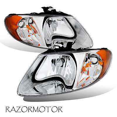 01-07 Headlight Set Pair For Dodge/Chrysler/Plymouth Minivan Caravan Pair+Bulb