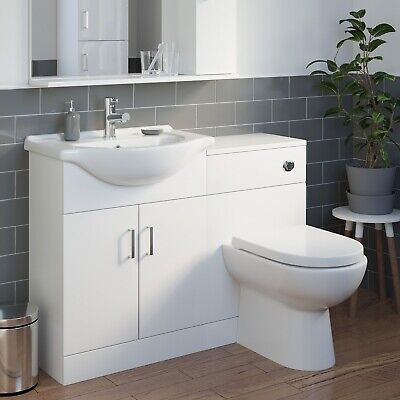 1150mm Toilet and Bathroom Vanity Unit Combined Basin Sink Furniture White NDT