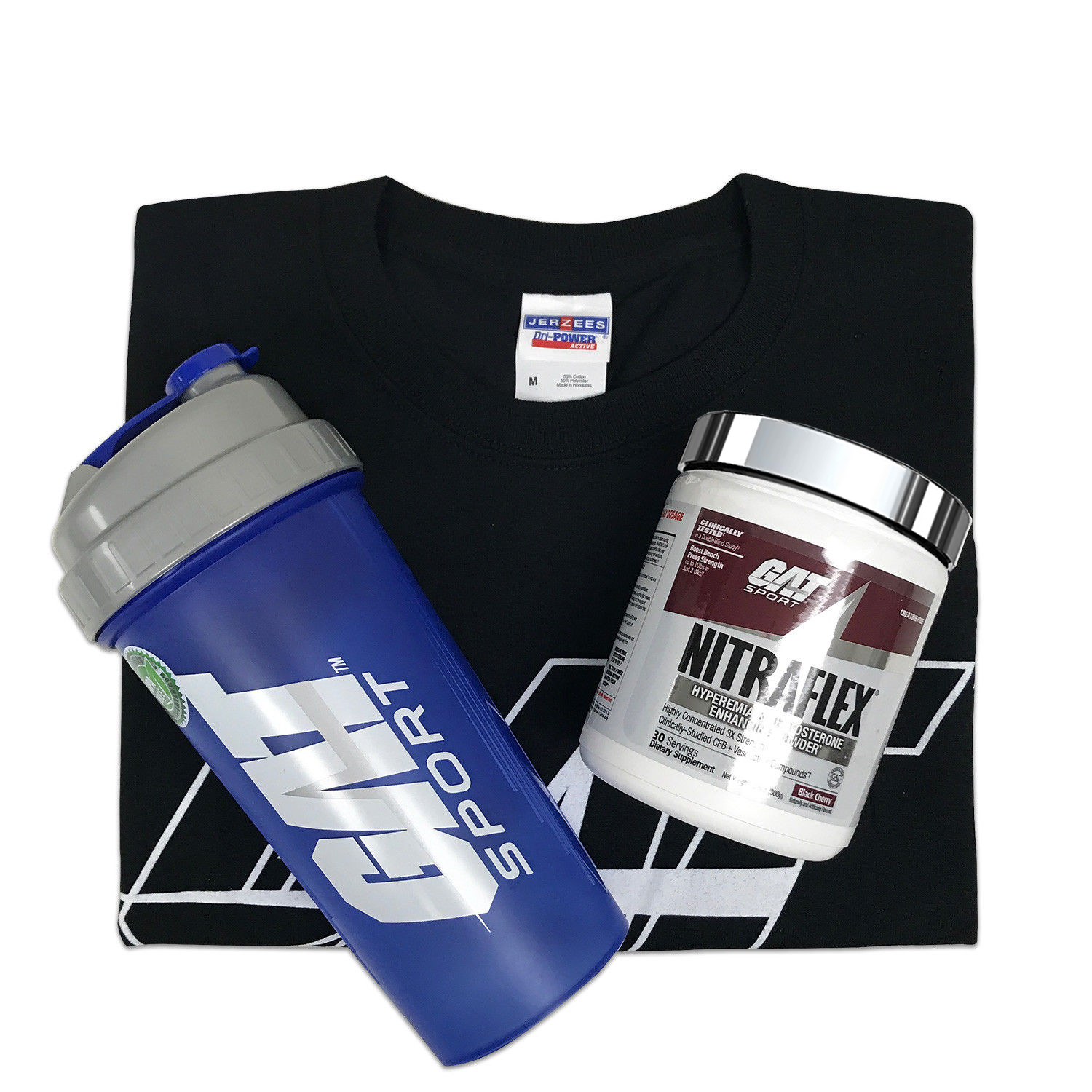 GAT Nitraflex 30 Servings Pre-Workout with T-Shirt and a Sha