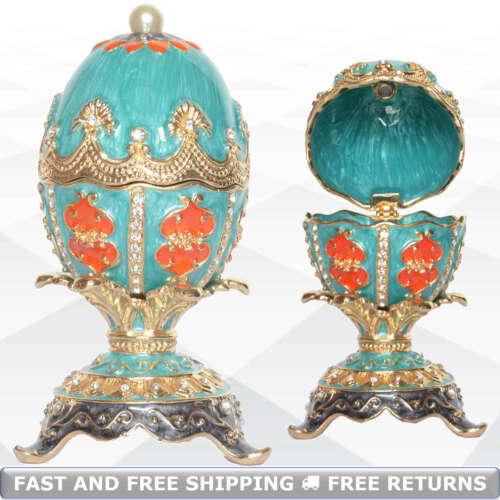 Faberge Egg Shaped Vintage Hinged Lid Bejeweled Jewelry Trinket Box Ring Holder