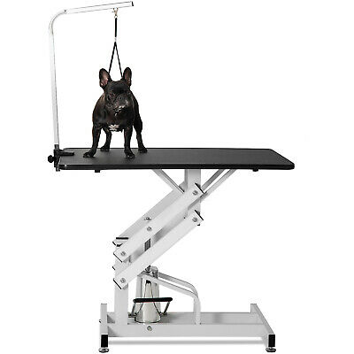 Hydraulic Z-Lift Dog Grooming Table W/ Clamp On Arm Height Adjustable Heavy Duty