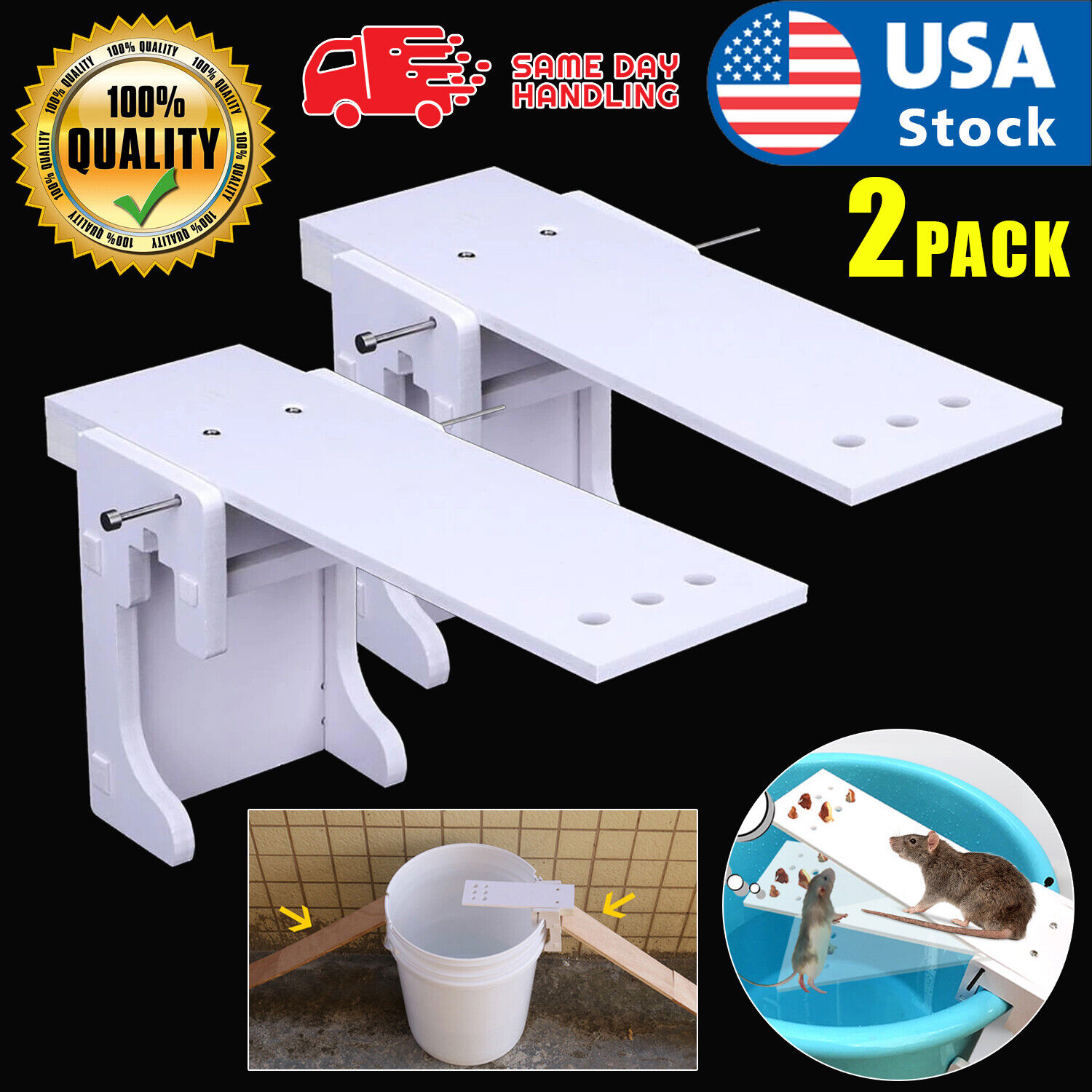 Walk The Plank Mouse Trap Rodent Bucket Trap Rat Auto Reset Humane Mice Catcher Animal & Rodent Control