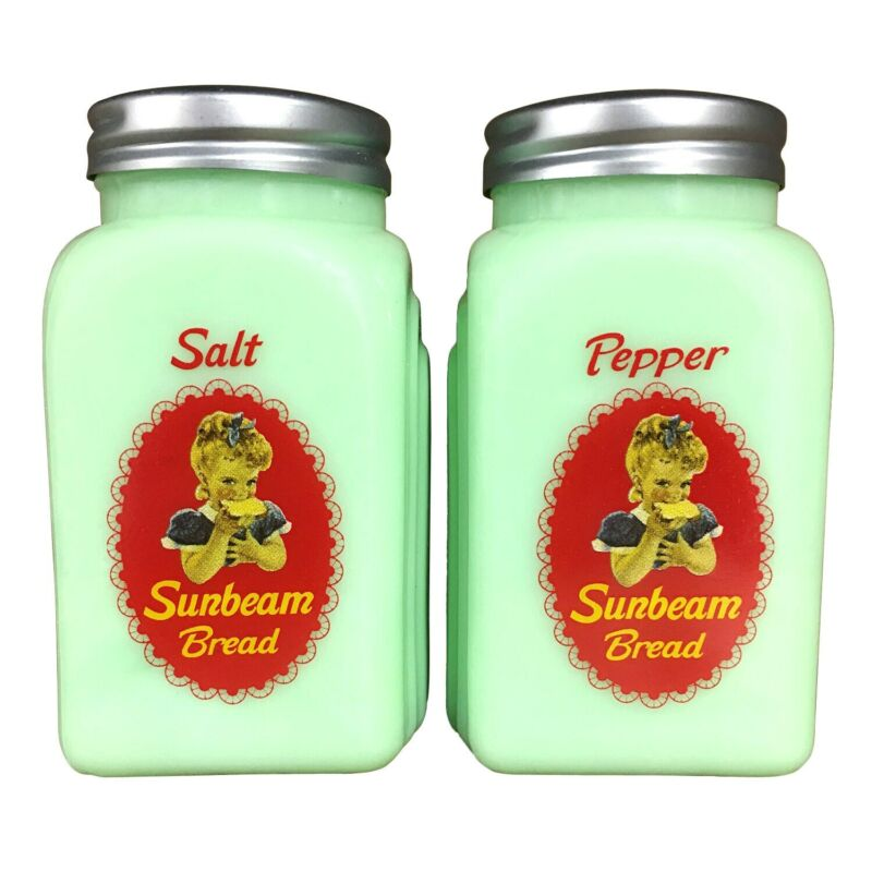 Sunbeam Bread Salt And Pepper Shakers -Green Glass Vintage Logo Collectible