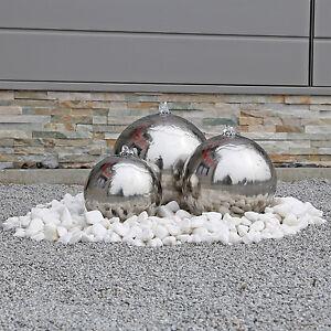 Brunnen aus Edelstahl für den Garten Gartenbrunnen mit Kugel LED Beleuchtung V2A