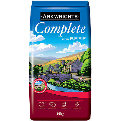 Arkwrights Complete Dry Dog Food 15kg with Beef Active Sporting Working Dogs