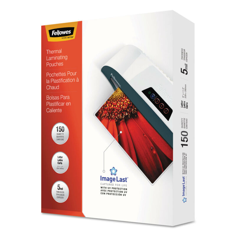 Fellowes ImageLast Laminating Pouches with UV Protection 5mil 11 1/2 x 9 150