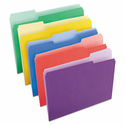 - Universal One File Folders 1/3 Cut Single-Ply Top Tab Letter Assorted 100/box