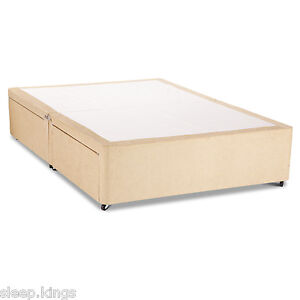 Cream Chenille Divan Base Divan Bed Base With Underbed Drawers Storage Ebay