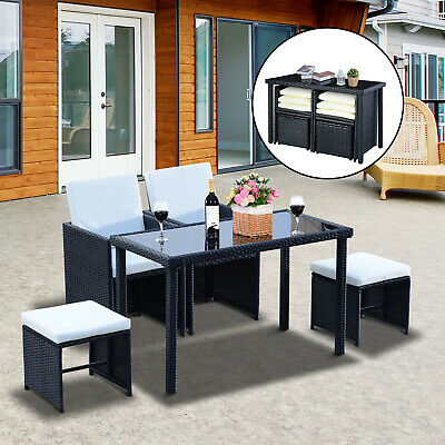 Garden Furniture - Outsunny 5 Pieces Rattan Wicker Set Coffee Chair Table Garden Cushion Furniture