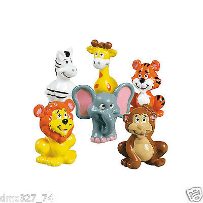 12 Birthday Party Favors ZOO SAFARI ANIMALS Cake Cupcake Toppers Figures