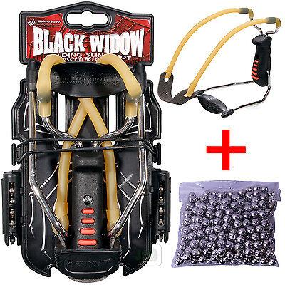 Barnett BLACK WIDOW Powerful Hunting Slingshot Catapult + 250 x 6.35mm BB Ammo