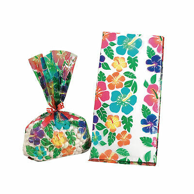 12 HIBISCUS FLOWER Design CELLOPHANE Luau Birthday Party favor loot bags - Flowers Loot Bag