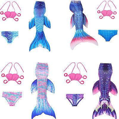 2018 Swimmable Mermaid tail +bikini set + monofin Swimware kids girls cos gift